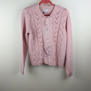 Vintage Together Pink Quarter Zip Knit Sweater